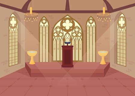 Church flat color vector illustration. Vektorgrafik