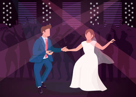 Wedding night party flat color vector illustration. Newlyweds dance in nightclub. Dancefloor for celebratory entertainment. Bride and groom 2D cartoon characters with crowd on background