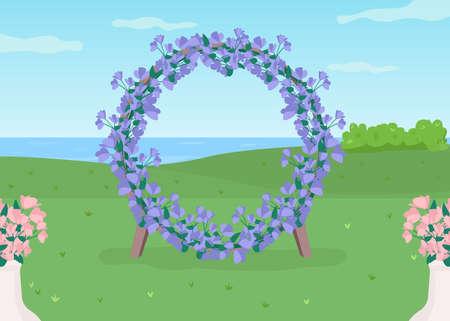 Blue floral arch flat color vector illustration. Flower circle gate for wedding photozone. Place for party event. Celebratory arrangement 2D cartoon landscape with sea on background