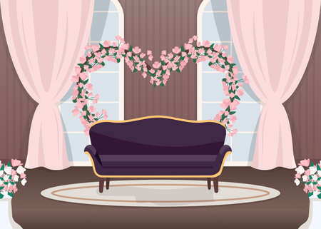 Elegant wedding photozone flat color vector illustration. Elegant couch. Luxurious sofa. Floral arch in heart shape. Romantic photo zone. Event hall 2D cartoon landscape with sea on background 일러스트