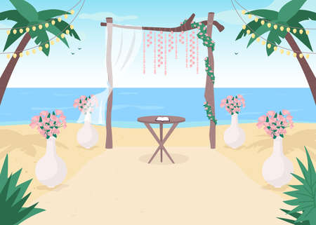 Beach wedding flat color vector illustration. Floral archway. Gate with flowers for matrimony service. Tropical arrangement. Marriage service 2D cartoon landscape with sea on background