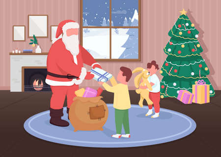 Santa gives gifts to children flat color vector illustration. Happy children receiving toys. Father Christmas 2D cartoon characters with traditional holiday decorations on background 일러스트