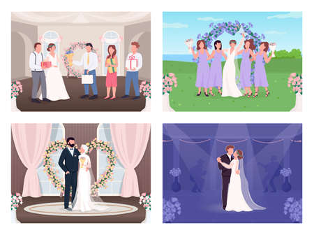 Wedding celebration flat color vector illustration set. Newlyweds couple first dance. Bride and groom with guests 2D cartoon characters with interior and landscape on background collection