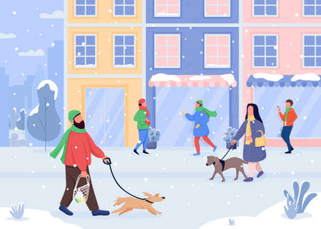 Walking dog in winter flat color vector illustration. Snowy weather. Light snowfall. Closed stores. Going out with pet. Christmas 2D cartoon characters with holiday city on background