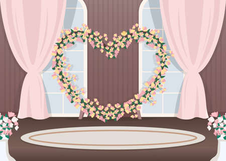 Wedding hall photozone flat color vector illustration. Floral arch in heart shape. Luxurious event decoration. Romantic photo zone. Marriage service 2D cartoon landscape with sea on background