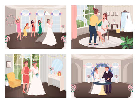 Wedding celebration traditions flat color vector illustration set. Throwing bouquet to bridesmaids. Cut cake. Newlyweds with guests 2D cartoon characters with interior on background collection