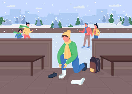 Ice skating flat color vector illustration. Winter activities types. Frozen ice rink. Sportsman changing shoes. Light snowfall. Sporty 2D cartoon characters with snowy city on background
