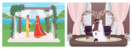 Indian and muslim wedding flat color vector illustration set. Religious ceremony for marriage. Bride and groom 2D cartoon characters with landscape and interior on background collection 일러스트