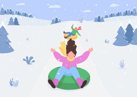 Snow hill sledging flat color vector illustration. Riding snow tubes. Inflatable rings. Outdoor winter activities. Snow sports. Excited 2D cartoon characters with snowy forest mountains on background