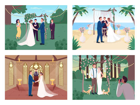 Religious and civil wedding ceremony flat color vector illustration set. Marry in church. Bride and groom 2D cartoon characters with landscape and interior on background collection