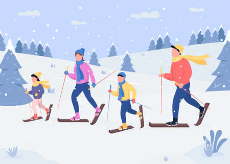 Family skiing flat color vector illustration. Traditional holiday activity. Gliding on snow hills. Happy family members 2D cartoon characters with forest covered with snow on background