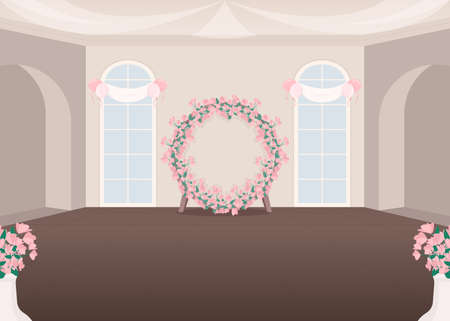 Wedding event hall flat color vector illustration. Ceremonial room for bridal ceremony. Flower decoration for party. Wedding salon 2D cartoon interior with floral arch decoration on background