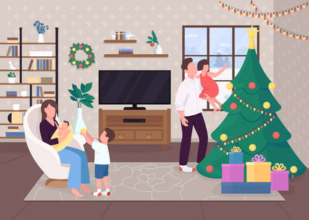 Christmas morning flat color vector illustration. Decorated evergreen tree. Hygge life. Playng with kids. Happy 2D cartoon characters with traditionaly decorated xmas house interior on background