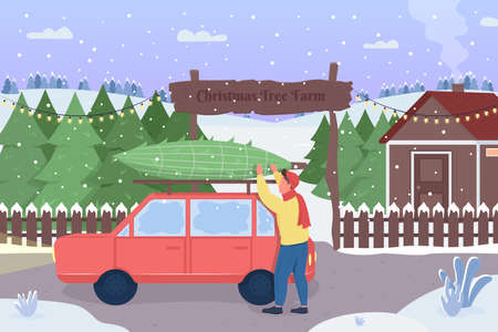 Character bought xmas tree at the market flat color vector illustration. Holiday tradition. Harvest your owm evergreen symbol. Happy man 2D cartoon characters with christmas tree farm on background 일러스트