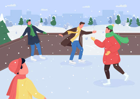 Ice skating flat color vector illustration. Winter activities ideas. Snow sports. Ice skating rink. Outdoor christmas time. Sporty 2D cartoon characters with snowy forest on background