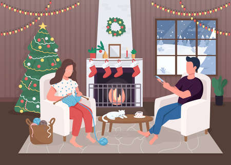 Christmas evening flat color vector illustration. Evergreen tree. Hygge life. Sitting near fireplace. Calm 2D cartoon characters with traditionaly decorated xmas house interior on background 일러스트