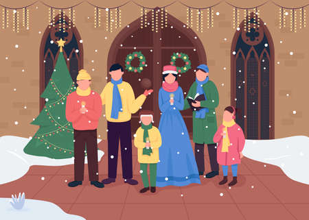 Christmas church choir flat color vector illustration. Singing carol songs. Worship gatherings. Happy holiday 2D cartoon characters with traditionaly decorated church on background