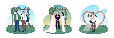 Newlywed couples 2D vector web banner, poster set. Wedding celebration. Homosexual and heterosexual flat characters on cartoon background. Marriage printable patch, colorful web element collection