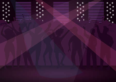 Nightclub flat color vector illustration. Dance floor with spotlight. Fun event. Dj performance with searchlight. Nightlife entertainment. Disco club 2D cartoon interior with crowd on background