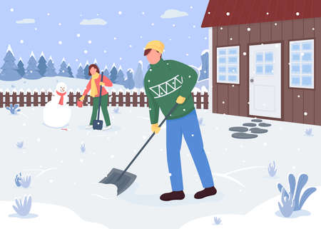 People cleaning snow outside the house flat color vector illustration. Outside activity. Creating snowman. Lovely couple 2D cartoon characters with forest covered with snow on background