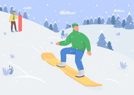 Snowboarding flat color vector illustration. Winter sports options. Sledding downhill. Outdoor snow activities variety. Sporty 2D cartoon characters with snowy mountains on background