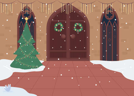 Traditionally decorated church entrance flat color vector illustration. Xmas worship gathering. Singing holiday carols. Christmas 2D cartoon interior with big wooden doors on background