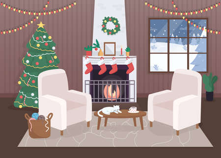 Decorated christmas house inside flat color vector illustration. Hygge atmosphere. Calm evening. Xmas tree with lights. Winter 2D cartoon interior with snowy forest hills on background