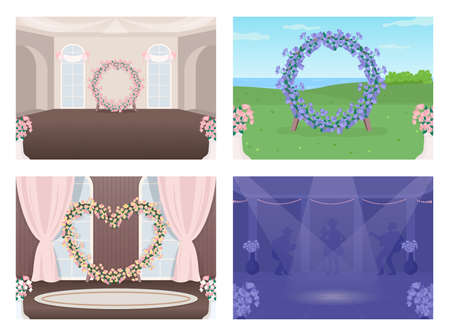 Decorated wedding venue flat color vector illustration set. Event hall. Night dance floor. Marriage celebration event 2D cartoon interior and landscape with floral decoration on background collection