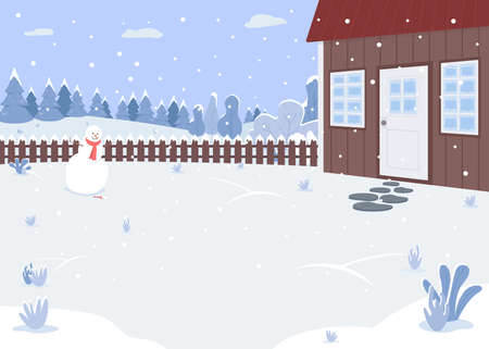Winter house yard flat color vector illustration. Smiling freshly made snowman. Strong snowfall. Christmas weather. Covered with snow 2D cartoon landscape with snowy forest on background 일러스트
