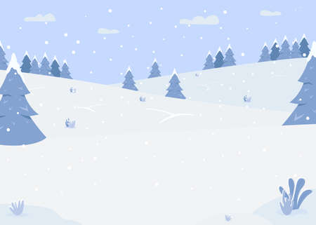 Snowy forest hills flat color vector illustration. Zone for outdoor activities. Road for sledging. Beautiful snow area. Christmas season. Winter 2D cartoon landscape with snowfall on background 일러스트