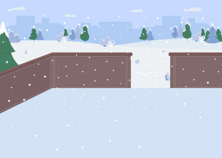 Ice skating rink flat color vector illustration. Free sports place. Fun christmas things to do. Winter activity place 2D cartoon landscape with trees covered with snow stores on background