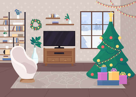 Modern christmas house inside flat color vector illustration. Traditional merry atmosphere. Holiday time. Decorated tree with lights. Winter 2D cartoon interior with snowy forest hills on background 일러스트