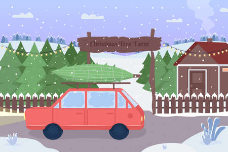 Christmas tree farm flat color vector illustration. Red car with packed evergreen spruce. Road covered with snow. Snowy countryside 2D cartoon landscape with xmas market on background
