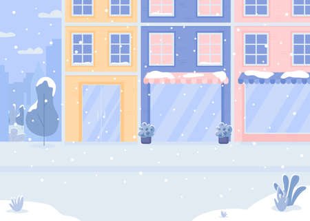 Covered with snow street flat color vector illustration. Snowfall before christmas. Holiday atmosphere. No people outside. Winter 2D cartoon cityscape with decorated stores on background