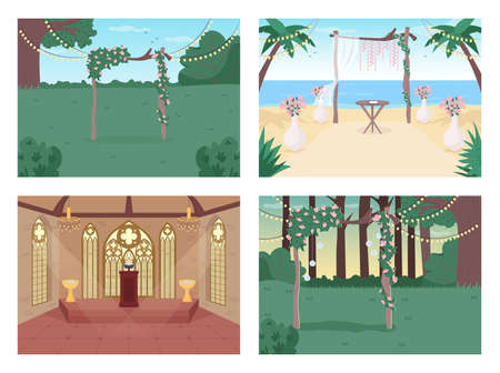 Wedding reception flat color vector illustration set. Floral archway. Chapel for ceremony. Venue for matrimony event 2D cartoon landscape and interior with decoration on background collection