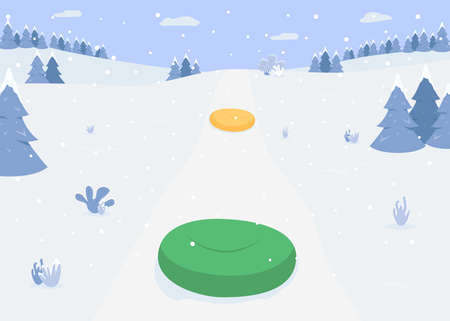 Riding on inflatable ring flat color vector illustration. Snow tube for sledding. Colorful air filled sleds. Winter activities 2D cartoon landscape with snowy forest hills on background