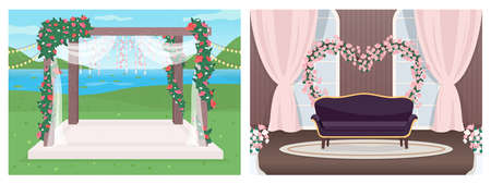 Wedding venue flat color vector illustration set. Marriage event hall. Elegant floral arch. Reception 2D cartoon interior and landscape with luxury decoration on background collection 일러스트