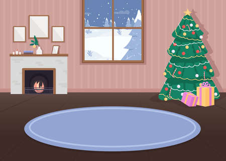 Christmas decorated house flat color vector illustration. Xmas celebration. Holiday decorations. Evergreen tree with lights. Hygge fireplace. Cozy 2D cartoon interior with snowy forest on background