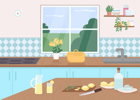 Kitchen counter flat color vector illustration. Cut lemons on tables. Make lemonade as pastime. Cook class. Household furniture. Dining room 2D cartoon interior with window on background