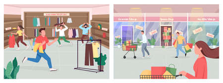 Shopping on black friday flat color vector illustration set. Consumerism on seasonal sale. Sell clothes for buyers. Customer 2D cartoon characters with store interior on background collection