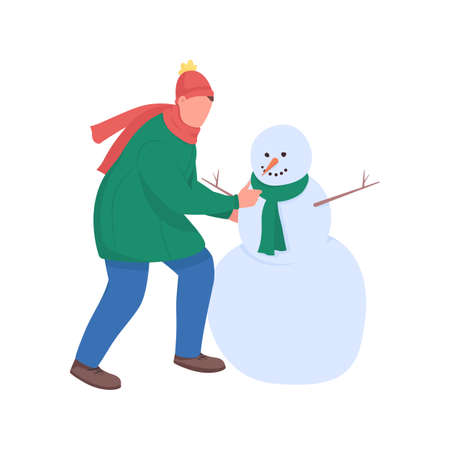 Man build snowman flat color vector faceless character. Guy play with snow. Christmas time. Festive season activity isolated cartoon illustration for web graphic design and animation