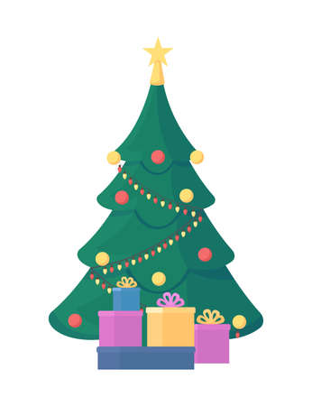 Christmas tree flat color vector object. Festive decoration. Winter holiday present. Wrapped gifts. Christmas celebration isolated cartoon illustration for web graphic design and animation Ilustração