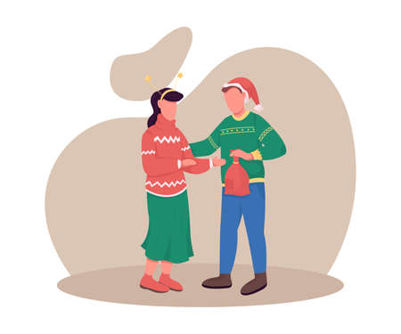 Couple on Christmas eve flat color vector faceless characters. Boyfriend give present to girlfriend. New Year celebration isolated cartoon illustration for web graphic design and animation