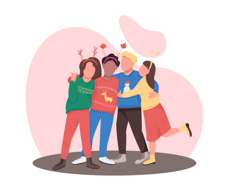 Friends on festive holiday flat color vector faceless characters. Teenager group hug. Christmas party celebration isolated cartoon illustration for web graphic design and animation 矢量图像