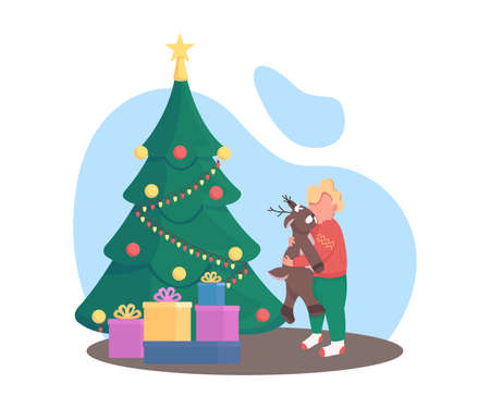 Kid with Christmas tree flat color vector faceless character. Gift boxes for child. Boy with plush bear. New Year present isolated cartoon illustration for web graphic design and animation