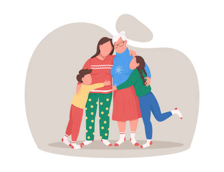 Family hug on Christmas flat color vector faceless character. Grandma with daughter, grandchildren. Celebrate winter holiday together isolated cartoon illustration for web graphic design and animation