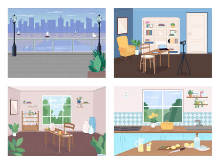 Places for recreation flat color vector illustration set. Urban landscape with skyline. Pottery classroom. Cook in kitchen. Studio 2D cartoon interior with furniture on background collection Çizim