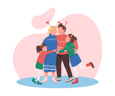 Happy family on Christmas flat color vector faceless characters. Mother, father and daughters hug. New Year eve celebration isolated cartoon illustration for web graphic design and animation