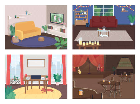 House interior flat color vector illustration set. Party in living room. Freelancer office. Live concert. Watch TV. Home and cafe 2D cartoon interior with furniture on background collection