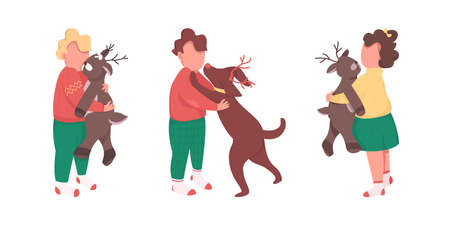 Children with Christmas presents flat color vector faceless character set. Boy with pet. Kids on winter holidays isolated cartoon illustration for web graphic design and animation collection